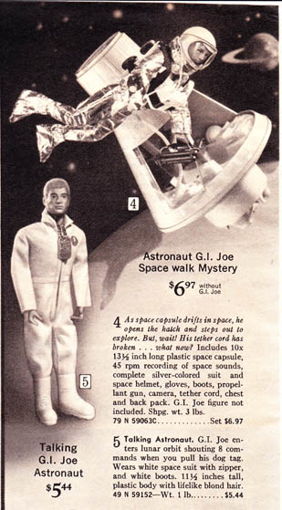 Offered again in 1970 was the GI Joe Talking Astronaut with blonde Life-Like hair. The white jumpsuit featured the astro sticker on the left breast.